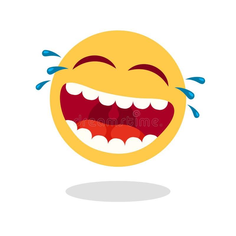 Emoticon de riso do smiley Cara feliz dos desenhos animados com boca e os rasgos de riso Ícone alto do vetor do riso ilustração do vetor