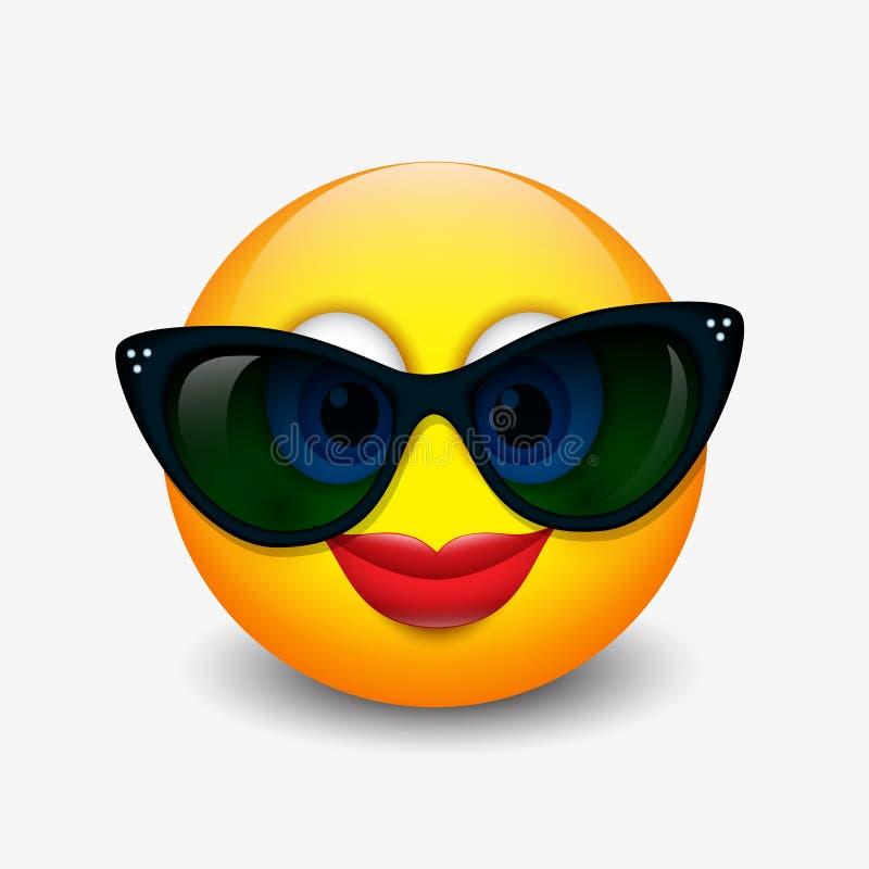 Emoticon de sorriso bonito que veste óculos de sol pretos, emoji, smiley - vector a ilustração ilustração royalty free