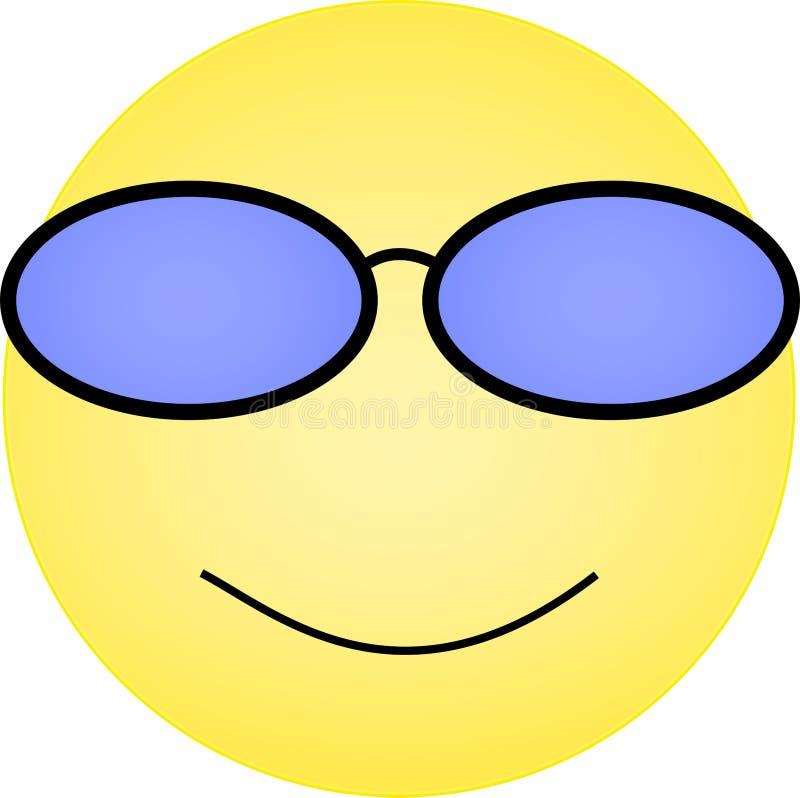 Emoticon degli occhiali da sole con il sorriso felice sul fronte royalty illustrazione gratis