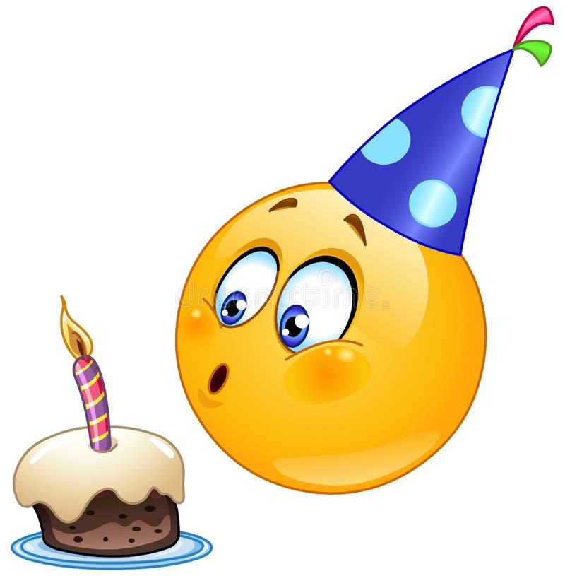 Emoticon del cumpleaños stock de ilustración