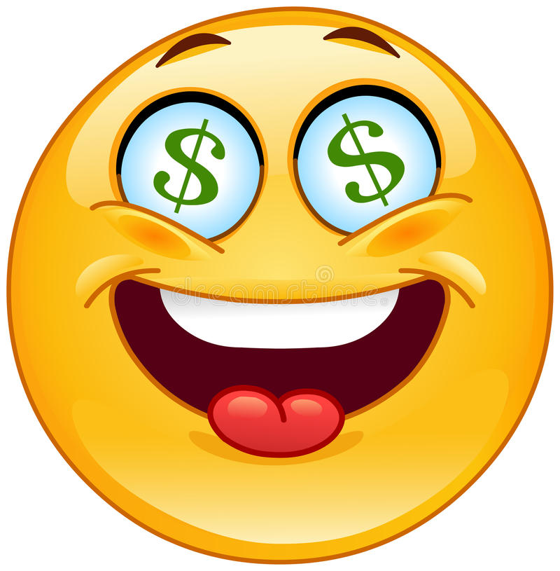 Emoticon del dólar ilustración del vector