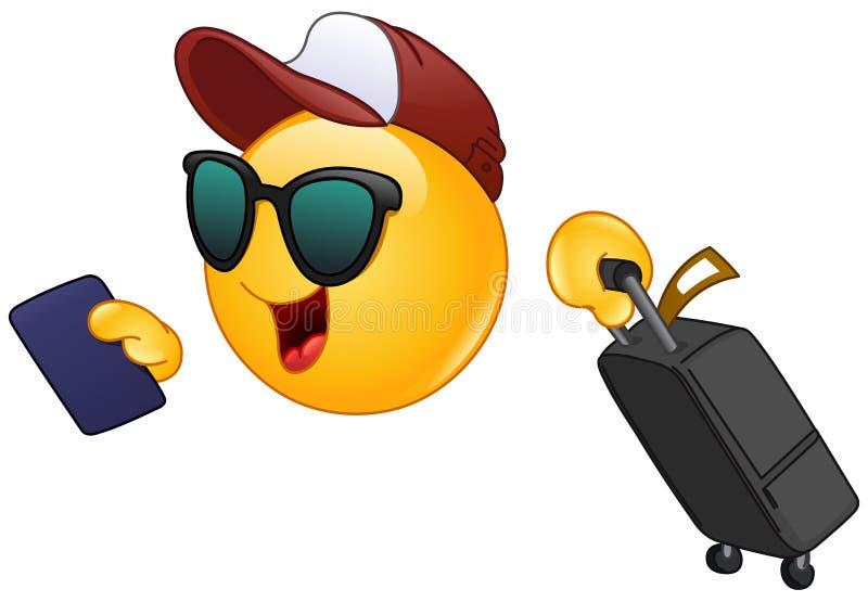Emoticon del viajero del aire ilustración del vector
