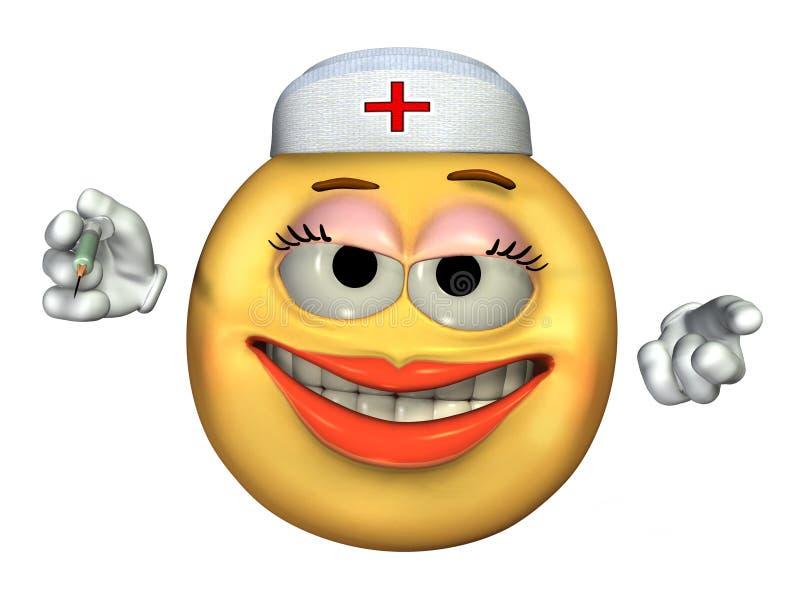 Emoticon dell'infermiera - con il percorso di residuo della potatura meccanica illustrazione vettoriale