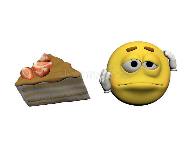 Emoticon demasiado codicioso - 3d rinden stock de ilustración
