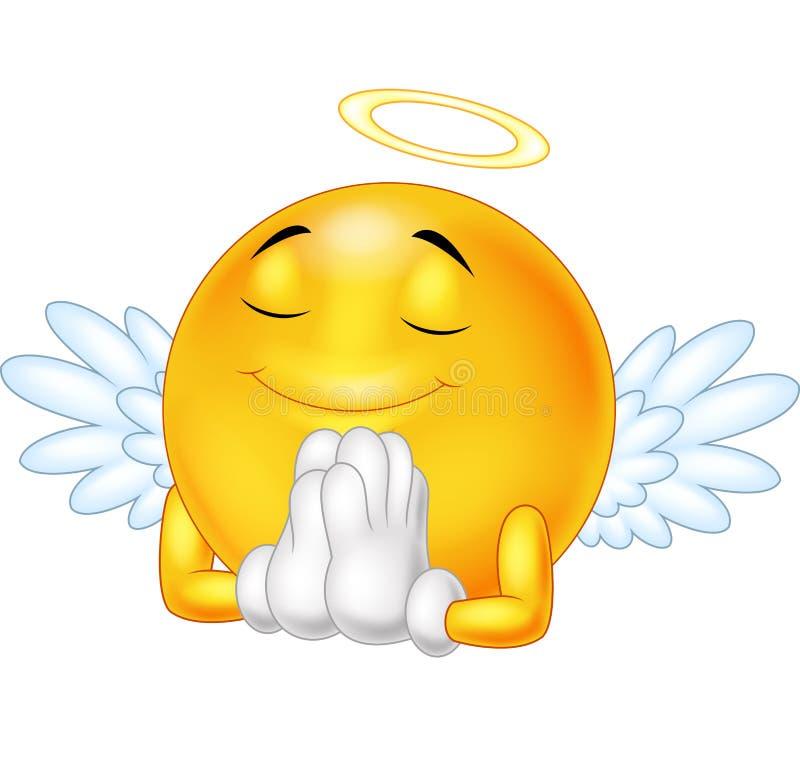 Emoticon di angelo isolato su fondo bianco illustrazione vettoriale