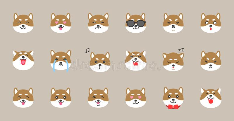 Emoticon di inu di Shiba, illustrazione piana di vettore di stile royalty illustrazione gratis