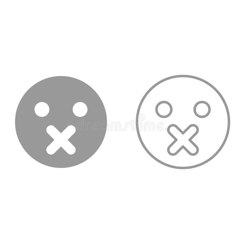 Emoticon di silenzio è icona illustrazione di stock