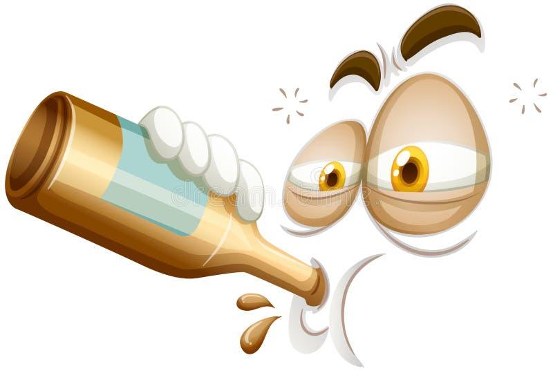Emoticon di un ubriacone illustrazione di stock