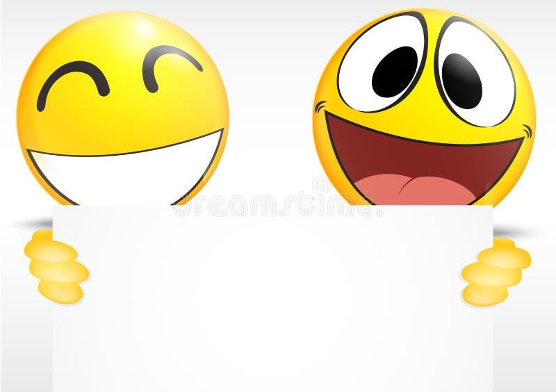 Emoticon die een document teken houden stock illustratie