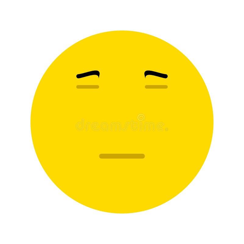 Emoticon die verveling of afkeuring uitdrukken royalty-vrije illustratie