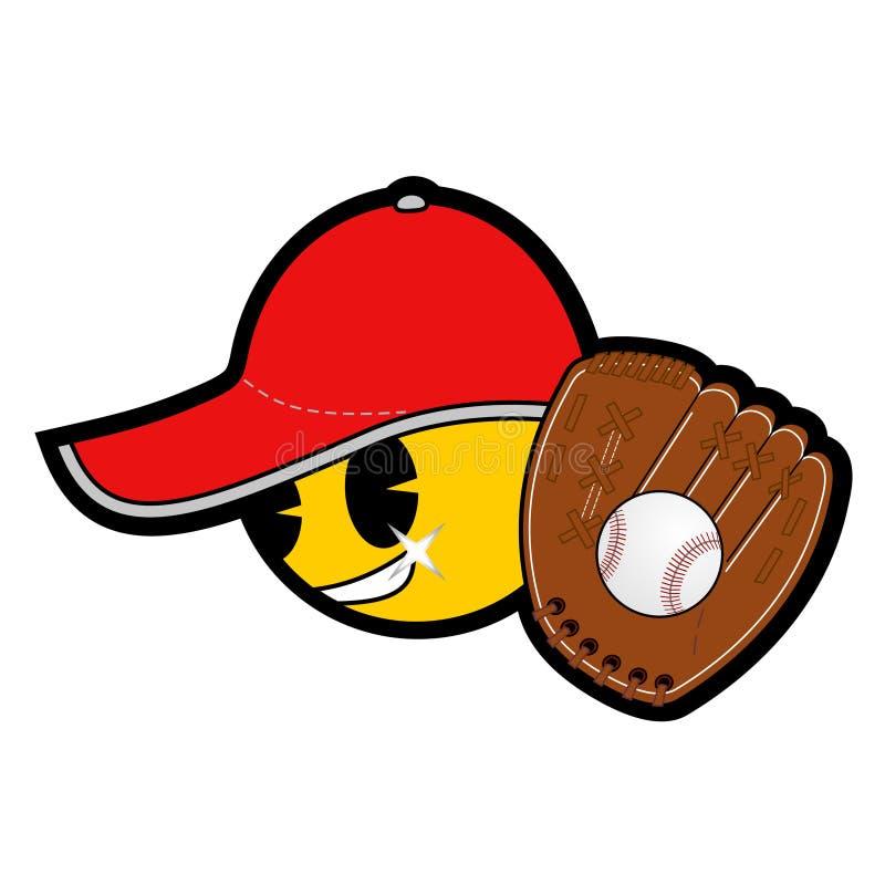 Emoticon do basebol ilustração stock