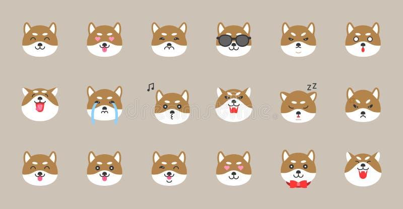 Emoticon do inu de Shiba, ilustração lisa do vetor do estilo ilustração royalty free