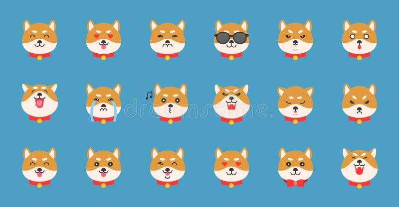 Emoticon do inu de Shiba, ilustração lisa do vetor do projeto ilustração royalty free