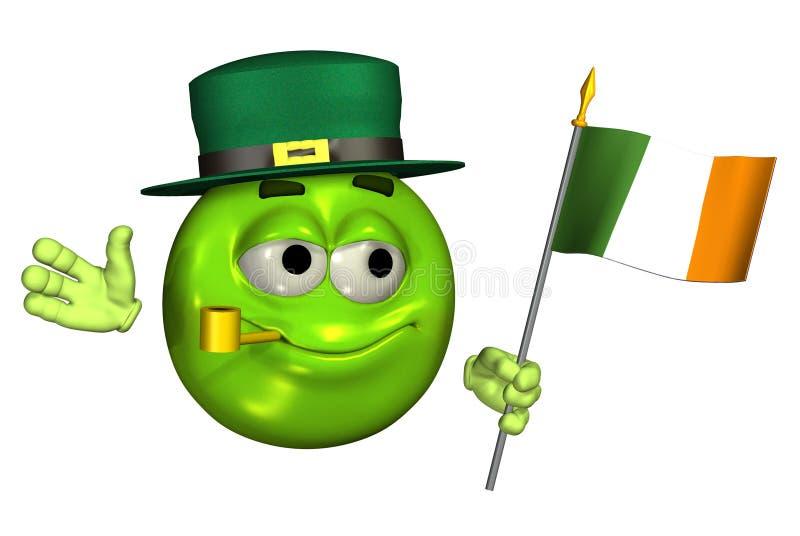 Emoticon do Leprechaun com bandeira irlandesa - com trajeto de grampeamento ilustração royalty free