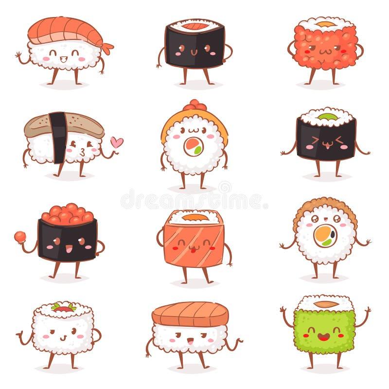 Emoticon do rolo do sashimi do alimento do kawaiivector do sushi ou marisco japonês do emoji do nigiri com arroz no restaurante d ilustração do vetor