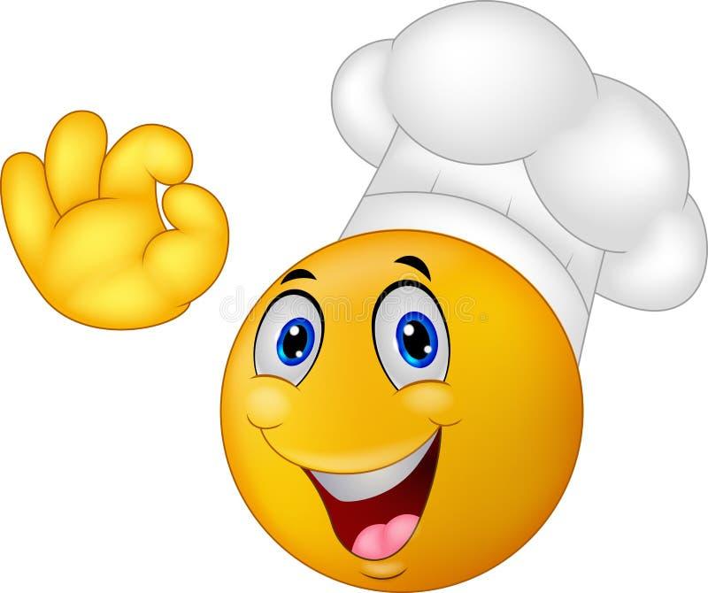 Emoticon do smiley do cozinheiro chefe dos desenhos animados ilustração royalty free