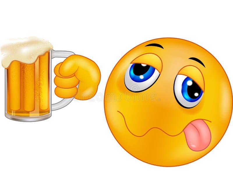 Emoticon do smiley dos desenhos animados que guarda a cerveja ilustração royalty free