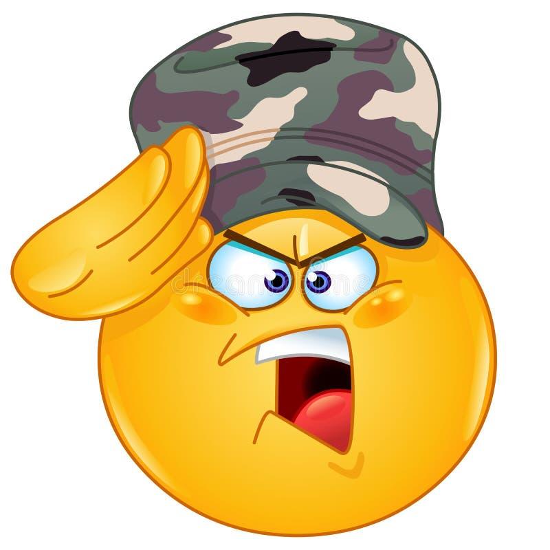 Emoticon de saudação do soldado ilustração do vetor