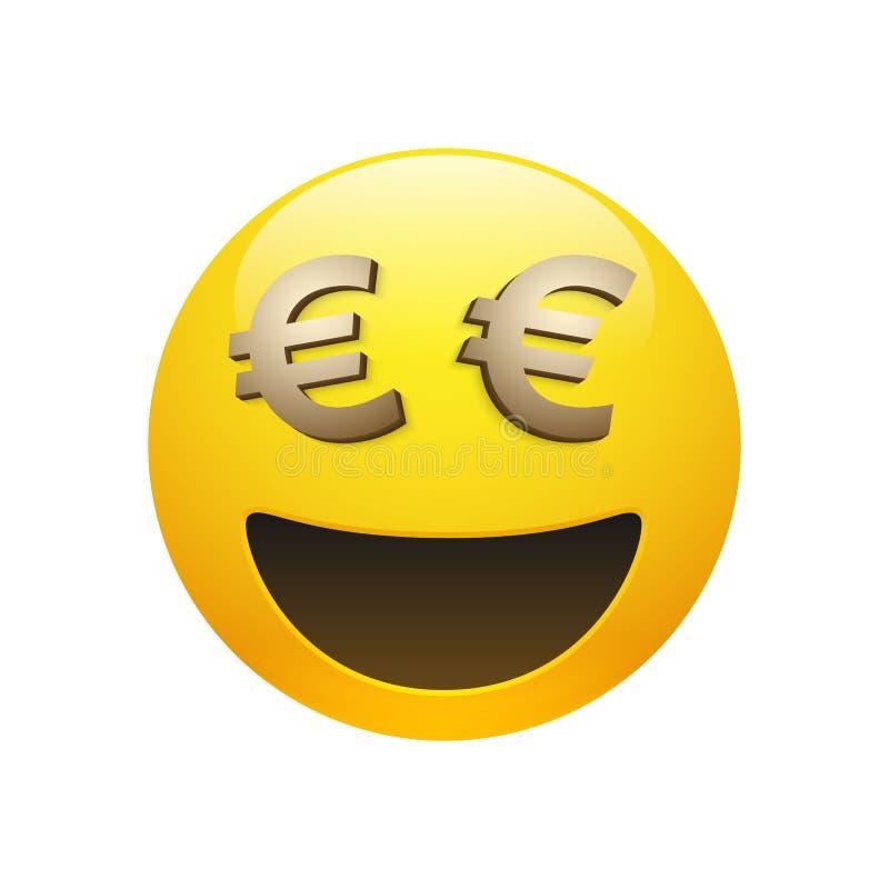 Emoticon do vetor com euro- sinal dourado ilustração royalty free