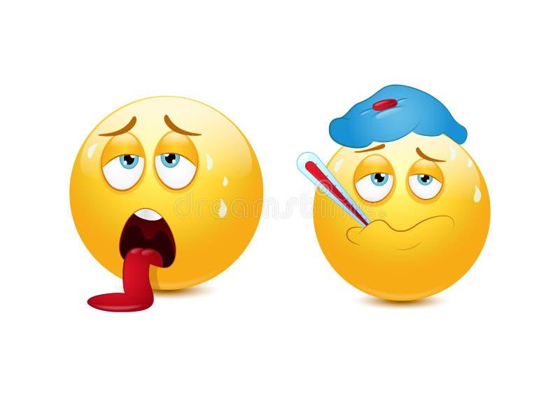 Emoticon doente e esgotado ilustração do vetor
