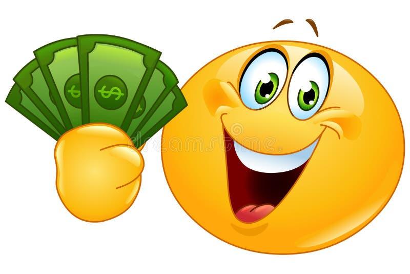 Emoticon with dollars. Happy emoticon holding dollar bills