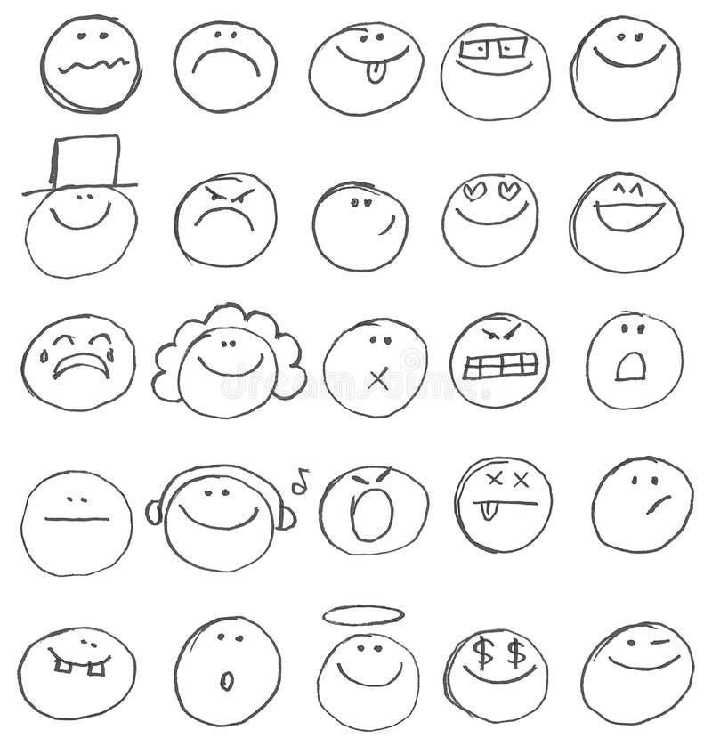 Emoticon doodles ilustracji