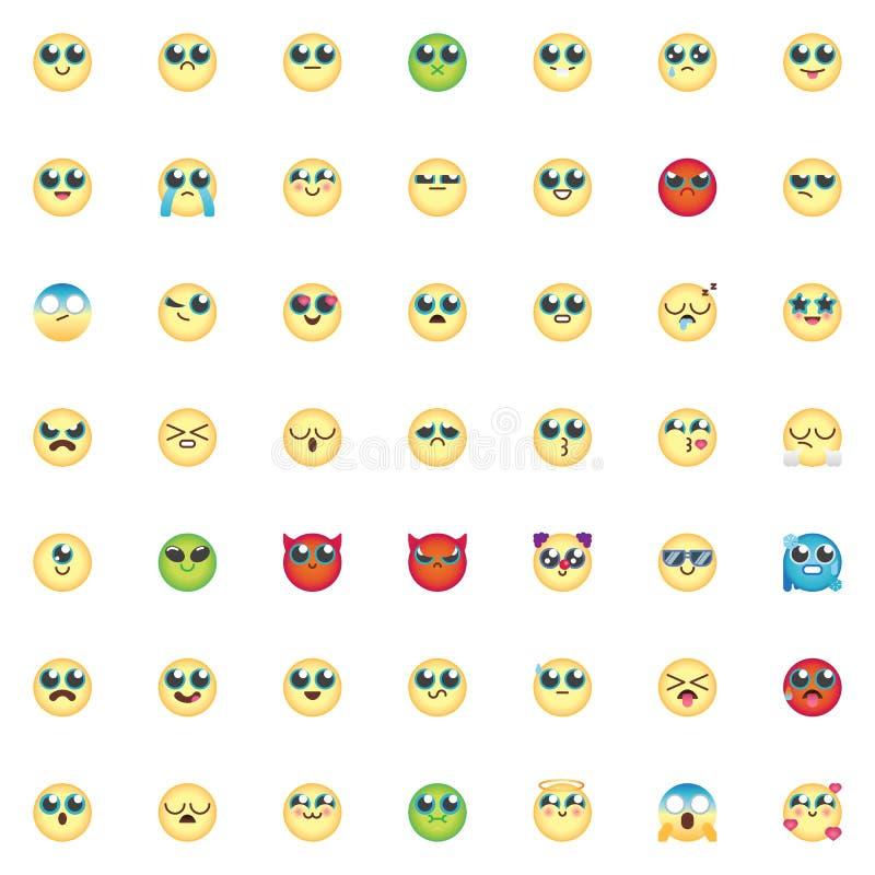Emoticon elements collection, Comic Emoji smiley flat icons set stock illustration