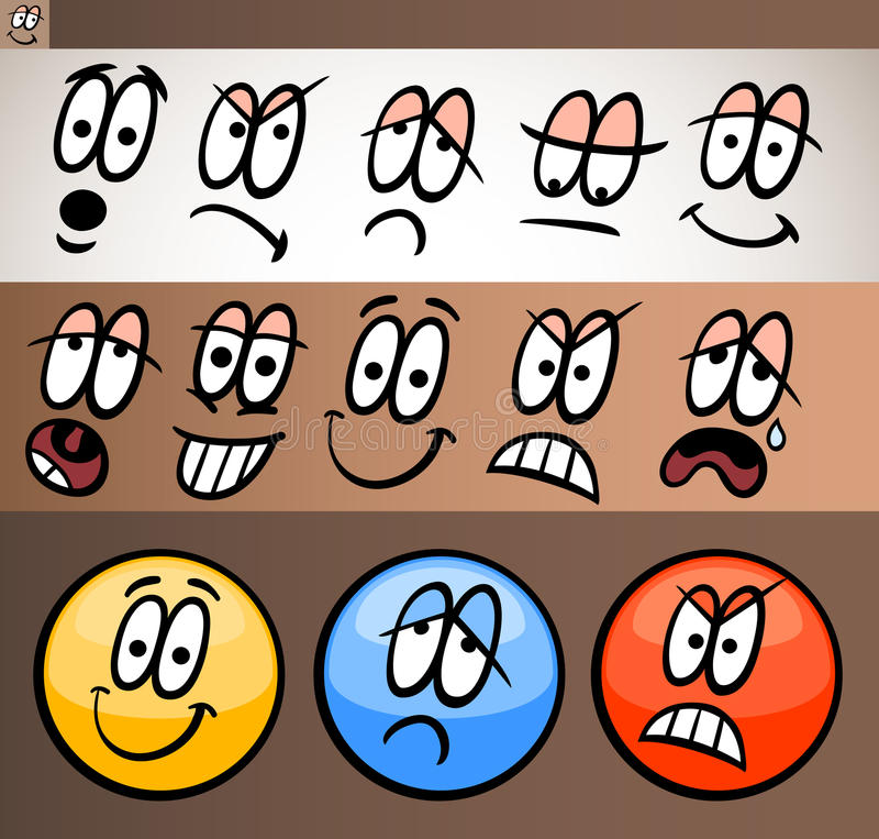 Emoticon elements set cartoon illustration vector illustration
