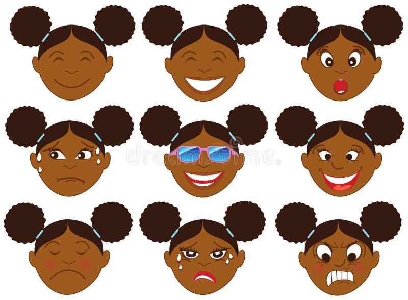 Emoticon Emoji della ragazza di afro illustrazione di stock