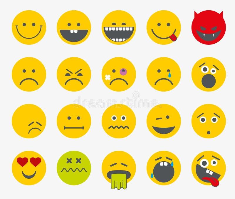 Emoticon, emoji, insieme piano sorridente di vettore royalty illustrazione gratis