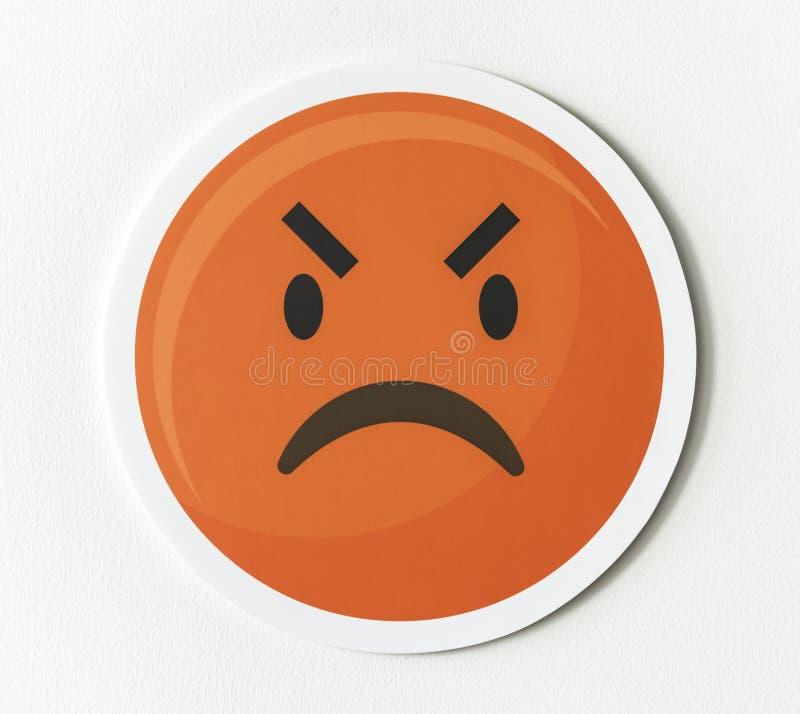 Emoticon emoji twarzy gniewna ikona fotografia royalty free