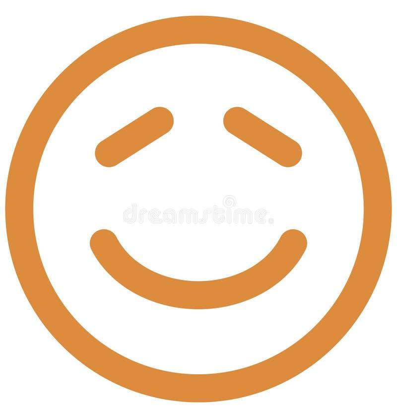 Emoticon, emoticons Wektorowa Odosobniona ikona kt?ra mo?e ?atwo redagowa? lub modyfikowa? royalty ilustracja