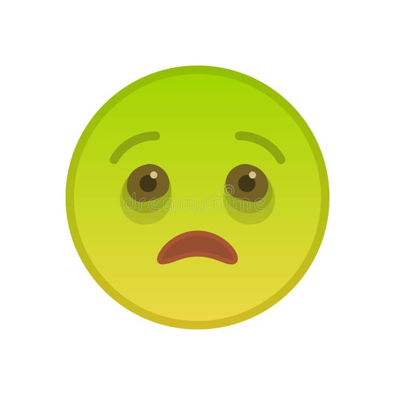 Emoticon enfermo aislado en el fondo blanco stock de ilustración