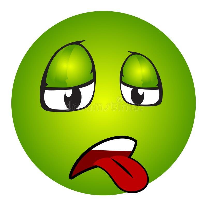 Emoticon enfermo con la lengua hacia fuera stock de ilustración