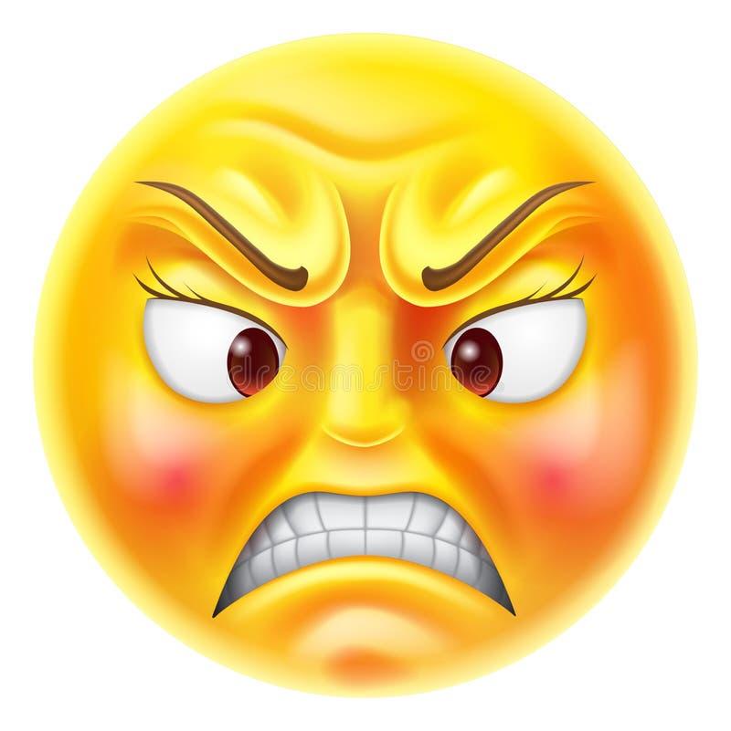 Emoticon enojado Emoji stock de ilustración