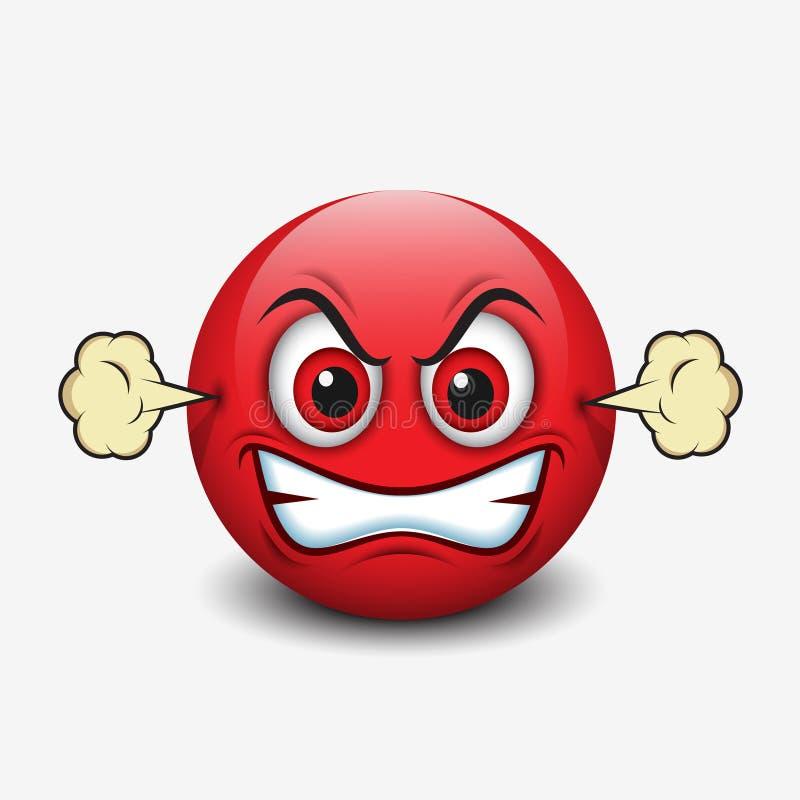 Emoticon enojado, emoji, smiley - vector el ejemplo ilustración del vector