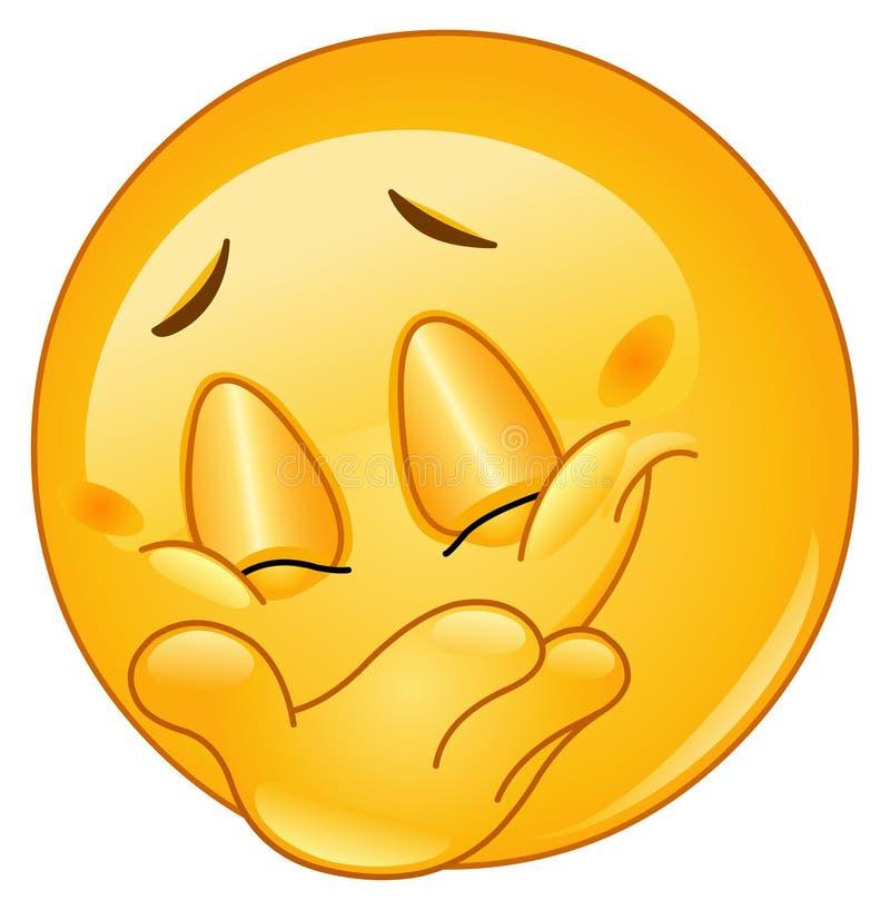 Emoticon escondendo do sorriso ilustração royalty free
