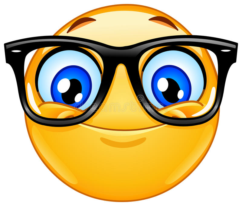 Emoticon with eyeglasses stock illustration