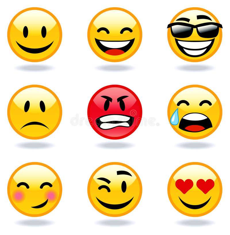 Emoticon faces. Happy, sad, angry, in love faces of emoticon