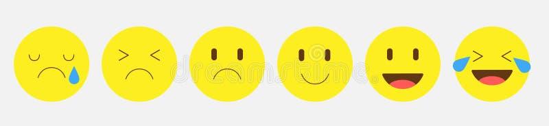 Emoticon faces gestures bundle icons vektorillustration design Uppsättning av emotikoner Uppsättning av Emoji stock illustrationer