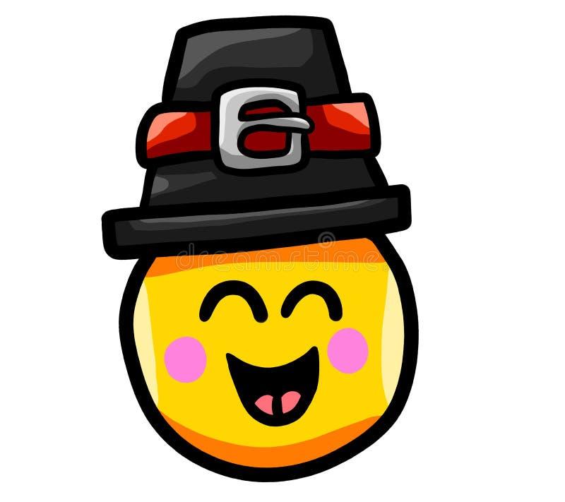 Emoticon feliz da ação de graças ilustração royalty free