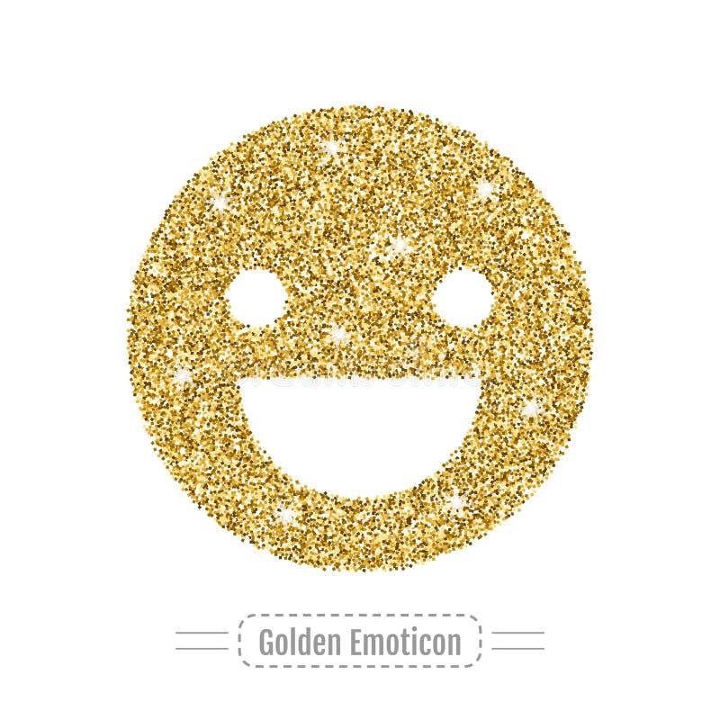 Emoticon feliz por brillo de oro Cara con la sonrisa, icono Vector libre illustration