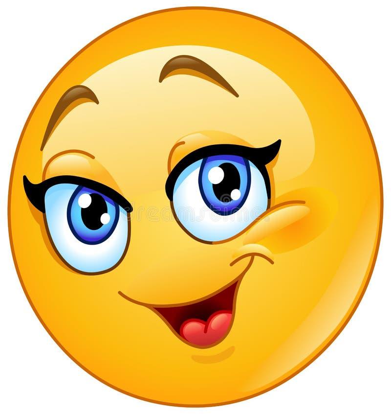 Emoticon femminile felice royalty illustrazione gratis