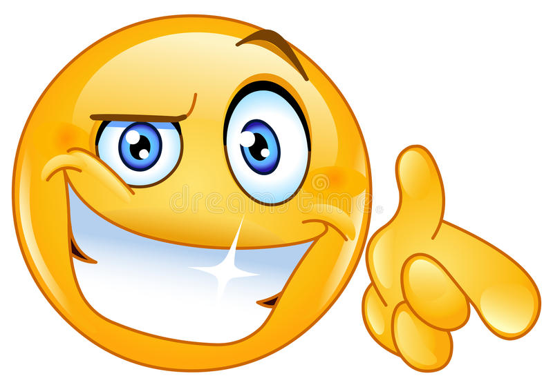 Emoticon fresco que señala en usted stock de ilustración