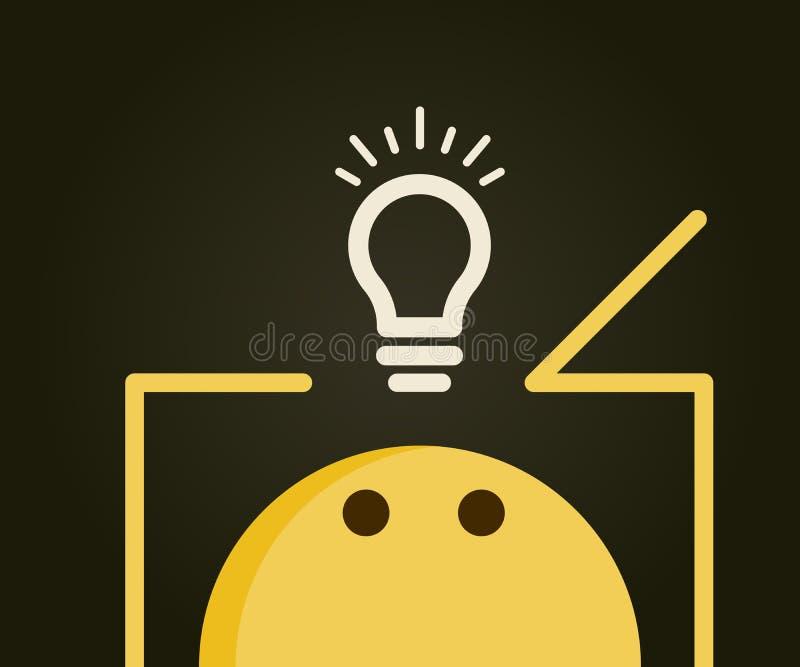 Emoticon główkowanie na zewnątrz pudełka Lightbulb na zewnątrz pudełka reprezentuje nowych nowatorskich pomysły i rozwiązania royalty ilustracja
