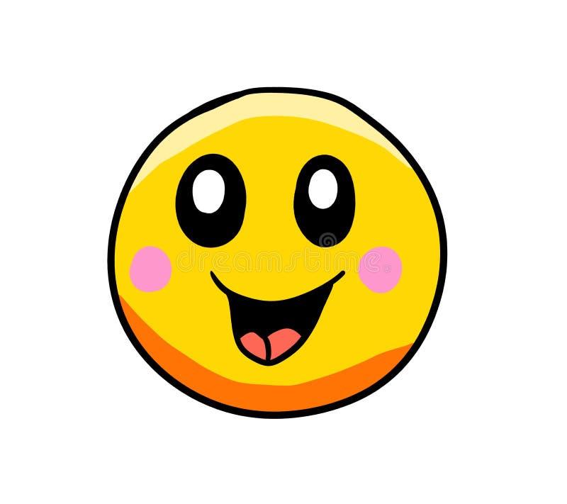 Emoticon giallo molto felice del fumetto illustrazione vettoriale