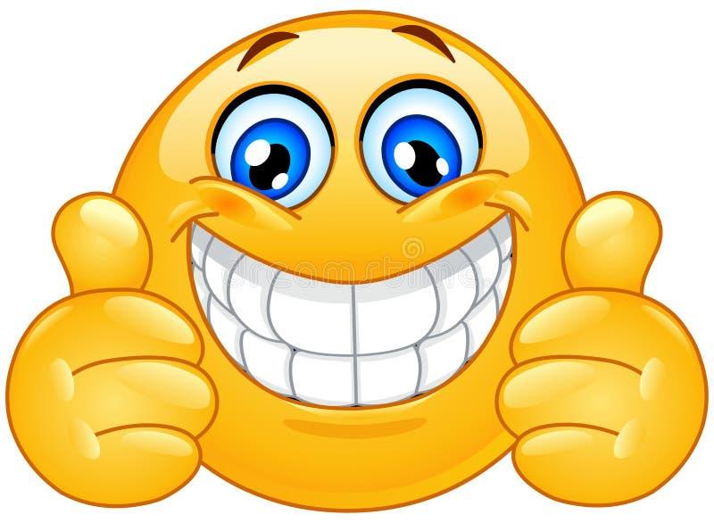 Emoticon grande do sorriso com polegares acima ilustração royalty free