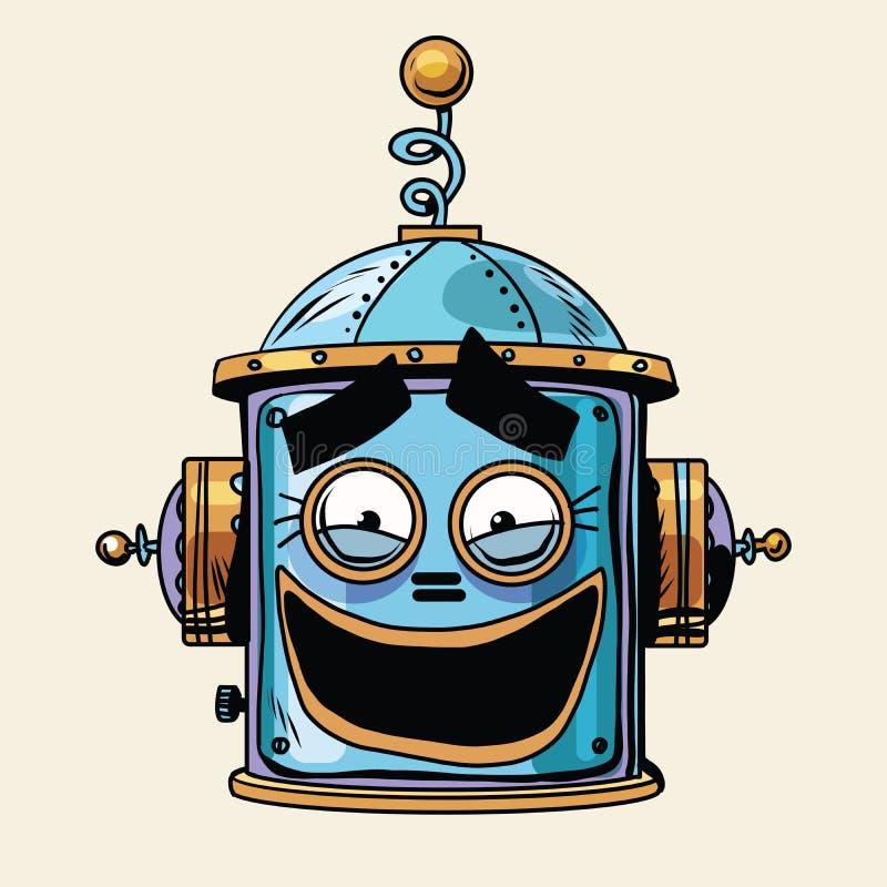 Emoticon grappige het lachen hoofdsmileyemotie van de emojirobot stock illustratie