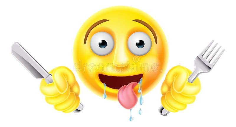 Emoticon hambriento muerto de hambre Emoji stock de ilustración