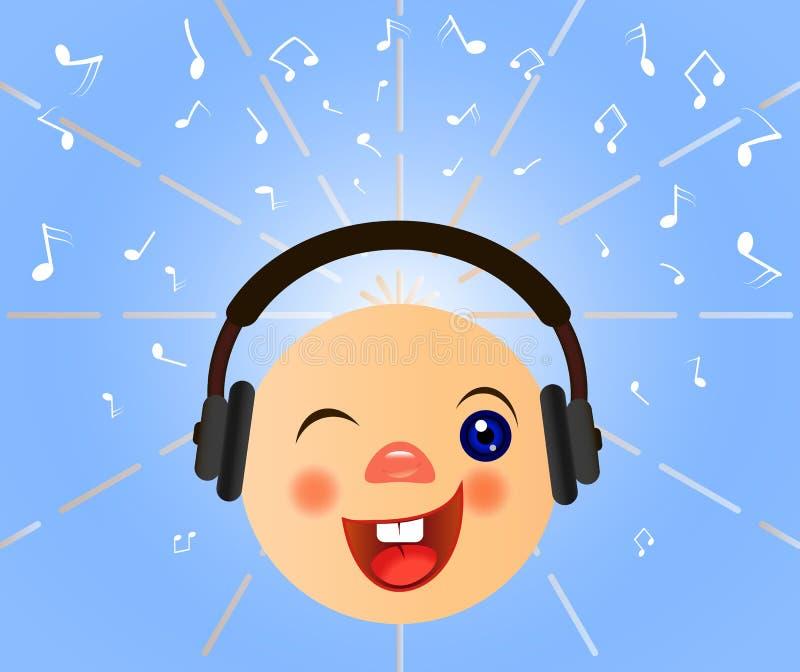 Emoticon With Headphones Listen Music Stock Illustration